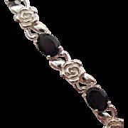 Vintage Garnet Rose Sterling Silver Line Bracelet