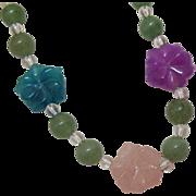 Vintage Jade Lotus Flower Necklace
