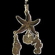 Vintage Sterling Sea Creature Pierced Earrings Hallmarked F.G.S. Sterling
