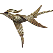 Signed Crown Trifari Vintage Bird in Flight Brooch