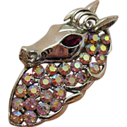 Vintage Signed Coro Horse Head Brooch~Amazing!