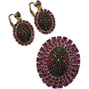 Moroccan Style Vintage Rhinestone Enameled Brooch Earrings Set
