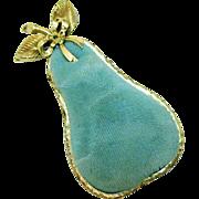 Darling Vintage Signed SF Metal Pear Pin Cushion