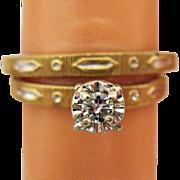Gorgeous Vintage 1960s 14K Gold Diamond Wedding Ring Set with Original Box