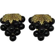 Beautiful Vintage 1920s Grape Cluster Brass Fur Clips