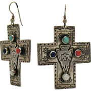 Rare Vintage Signed T Foree Sterling Cross Earrings