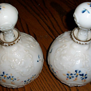 Pair of Victorian Milk Glass Decanters