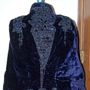 1870's Purple Velvet Bustle with Beadwork
