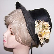 Victorian High Crown Straw Bonnet