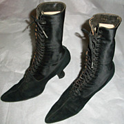 Victorian Black Satin and Suede Shoes or Boots