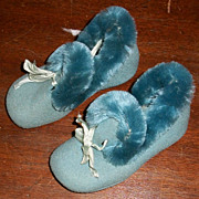 Victorian or Edwardian Blue Baby Slippers