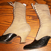 Beige Suede and Black Victorian Boots