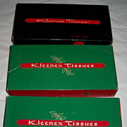 3 Boxes Vintage Red and Green Kleenex NOS