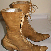 Victorian Beige Lace-Up Boots