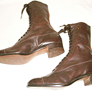 Brown Lace-up Victorian Old Store Stock Boots