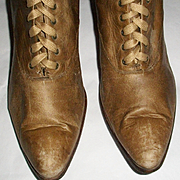 Tan or Beige Victorian Boots