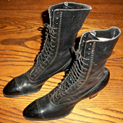 Old Store Stock Black Supple Victorian Boots