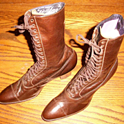 Old Store Stock Brown Victorian Boots