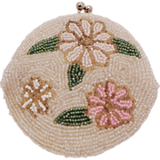Vintage White Beaded Floral Coin Purse by Delill