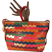 Vintage Colorful  Leather With Brass Studs Patch Embossing Purse By Sharif