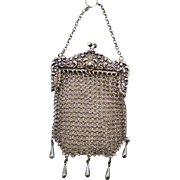Vintage  Antique  Sterling Silver Mesh Purse Marked W&D