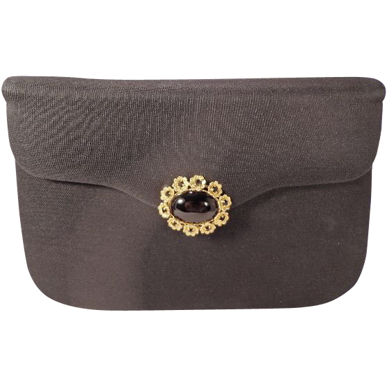 Vintage Black Crepe Evening Clutch Purse With Stunning Jewel Clasp by Milch