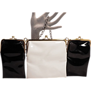 Vintage Mod 3 Attached Black and White Patent Purses by Ingber