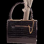 Vintage Crocodile Black Leather Purse by bienen-davis