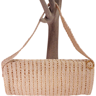 Vintage Beige Satin Purse With  Beige Beads On Purse and Handle by Garay