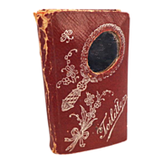 Antique Pressed Red Leather With Mirror and Comb