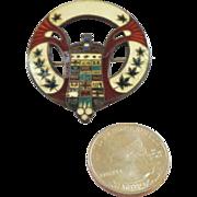 Guilloche Enamel on Sterling Silver Heraldic Brooch/Pin