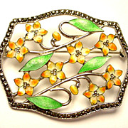 Sparkly Enamel on Sterling Silver Deco Period Pin/Brooch with Marcasites