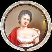 Antique Handpainted Miniature Portrait Madame Recamier Topped Hinged Lidded Cut Crystal Dresser Jar