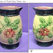"Lovely 8"" Majolica Pitcher - Rose or Wild Rose Pattern"