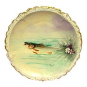 One of Four Antique Limoges Flambeau Handpainted Fish Plate Artist Signed