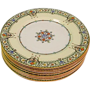 10 Royal Worcester Chantilly Large Dinner Plates with Raised Enamel
