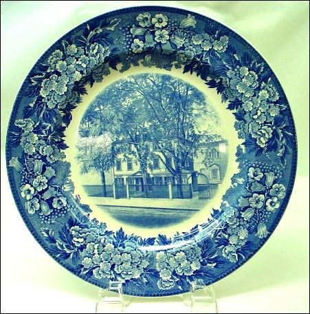 Antique Wedgwood Blue and White Historical Plate Longfellow's House
