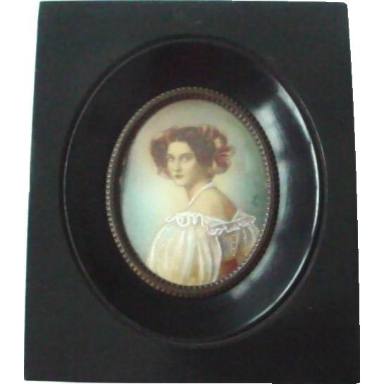 Antique Handpainted Miniature Portrait