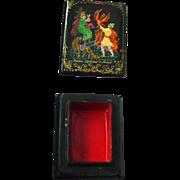 SOLD Handpainted Russian Lacquer Papier Mache Tiny Firebird Legend Box