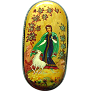 "Kholui Handpainted Legend Box Russian Lacquer Papier Mache ""Alyonushka and her Brother Ivanushka"""
