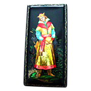 Handpainted Russian Lacquer Legend Box Frog Prince Ivan Fedoskino Large Size Papier Mache