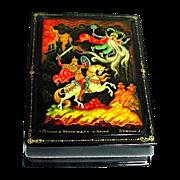 Gorgeous Russian Kholui Lacquer Miniature Painted Box Papier Mache Ruslan & Ludmilla Legend