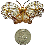 """Very Large 2 1/2""""  Filigree and Enamel Gilded Butterfly Pin Italian 800 Silver"""