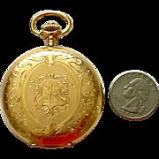 SALE Antique 14K Large Pocket Watch Swiss Squirrel Hallmark