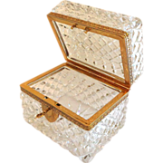 Antique French Diamond Cut Crystal Casket or Jewelry Box