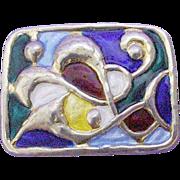 Enamel Sterling Oystein Balle Multi-color Modernist Brooch/Pin