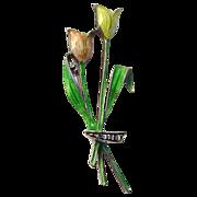 .835 Silver German Enamel on Silver Tulip Pin