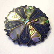 Vintage Signed Taxco Mexico Brooch/Pin Pendant Enamel Sterling and Shell