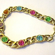 SALE Multi-color Pastel Faux Gem and Goldtone Link Bracelet