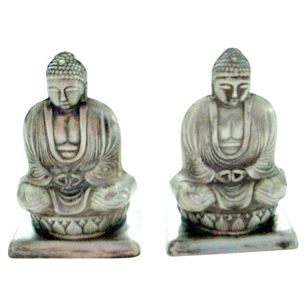 Pair of Sterling Silver Japan Figural Buddha/Buddah Salt and Pepper Shakers